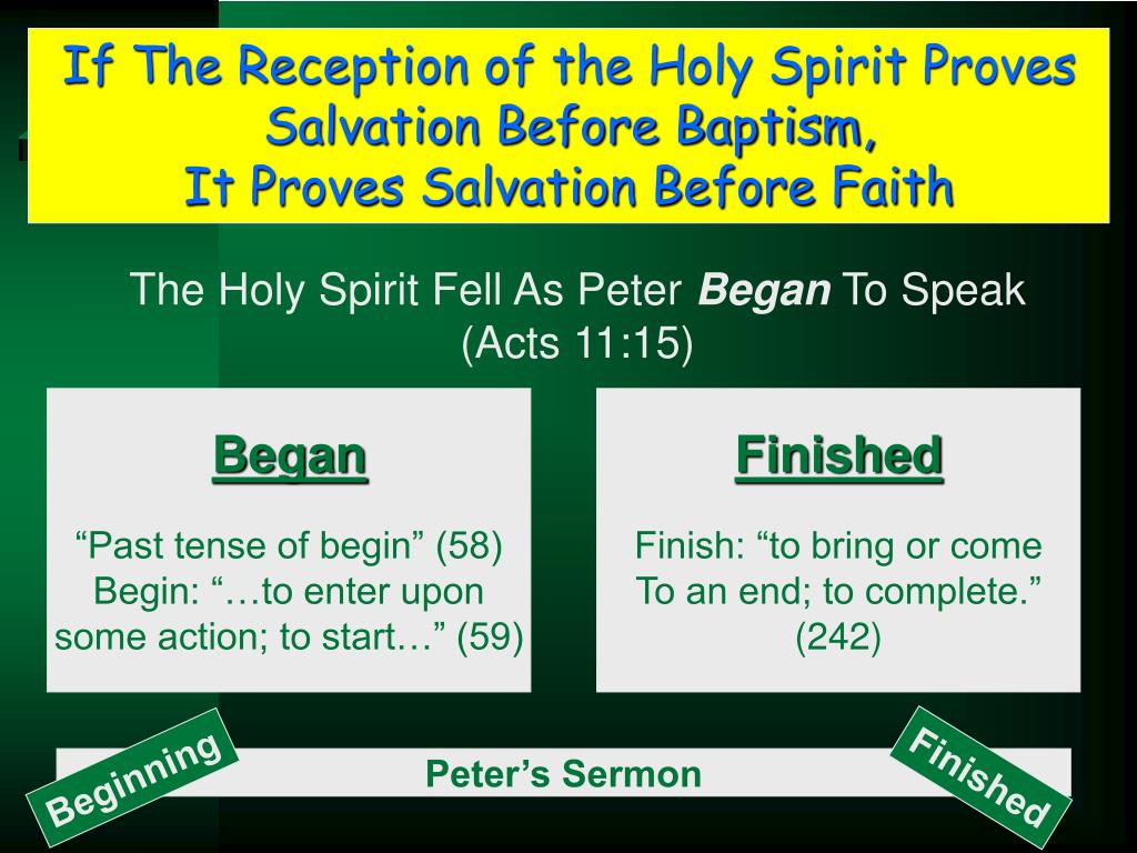 If The Reception of the Holy Spirit Proves Salvation Before Baptism,