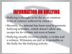 information on bullying