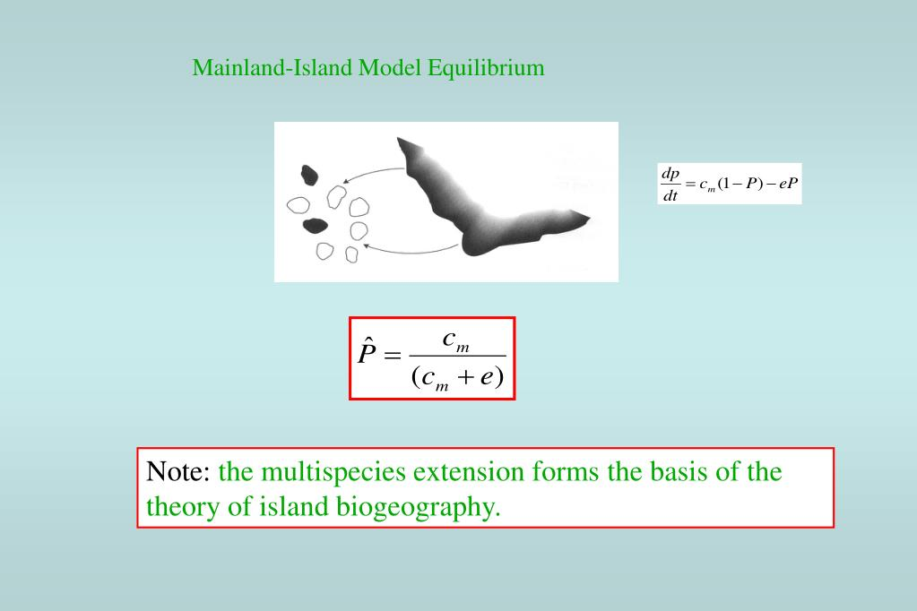 Mainland-Island Model Equilibrium