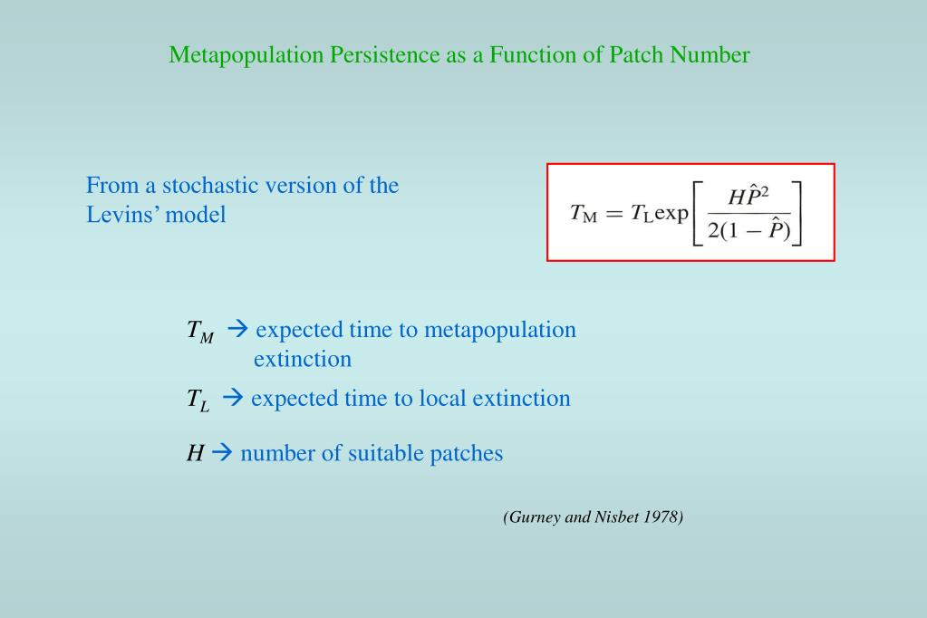 Metapopulation Persistence as a Function of Patch Number