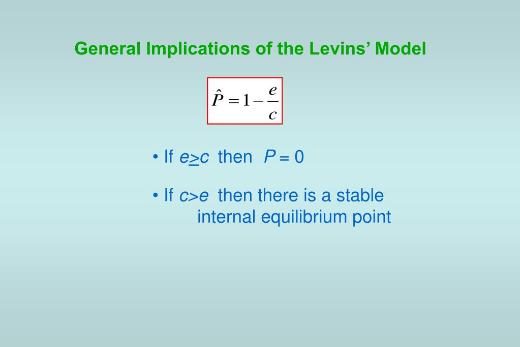 General Implications of the Levins' Model