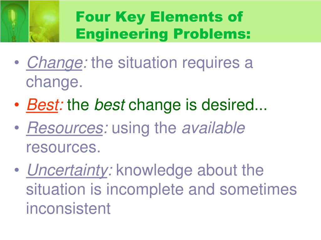 Four Key Elements of Engineering Problems: