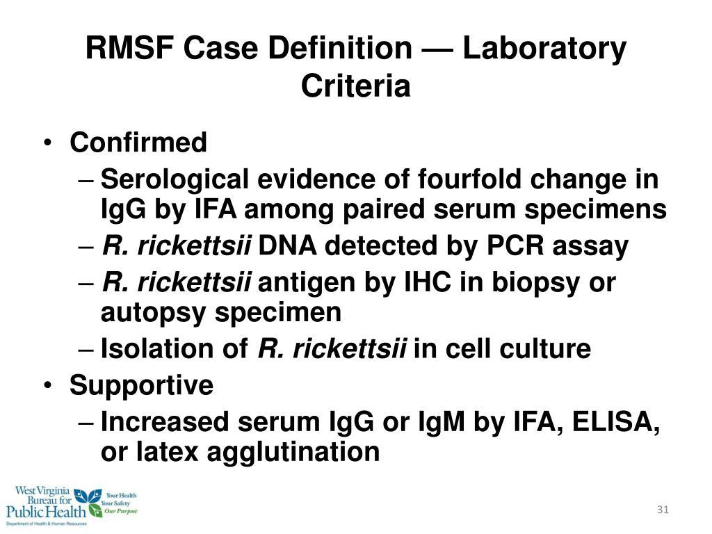 RMSF Case Definition — Laboratory Criteria