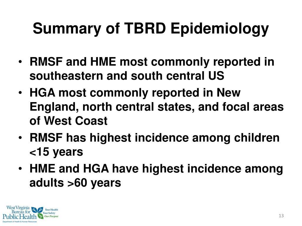Summary of TBRD Epidemiology