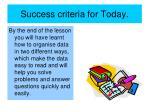 success criteria for today