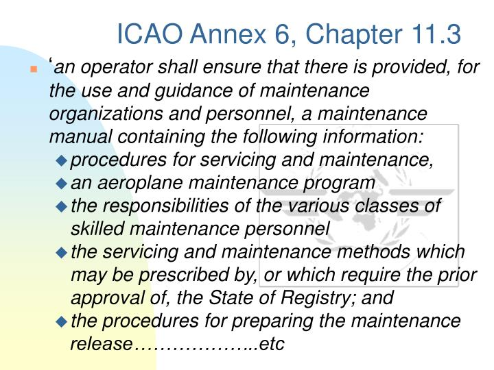Icao annex 6 chapter 11 3