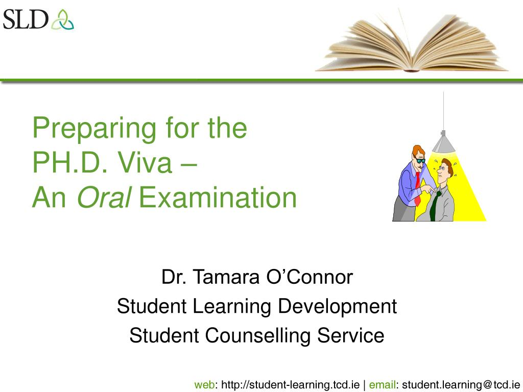 dissertation oral examination The final oral examination is a defense of the dissertation and is open to the public the student must be enrolled in at least two hours the semester he/she is to take the final oral examination.