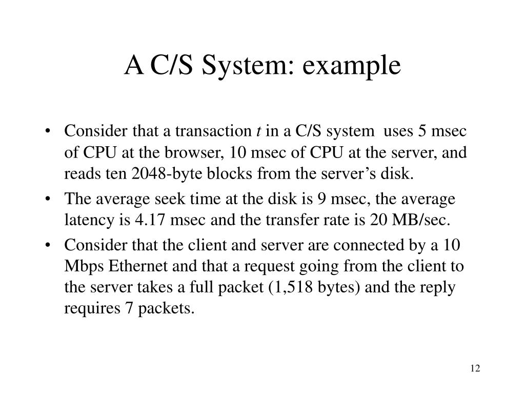 A C/S System: example
