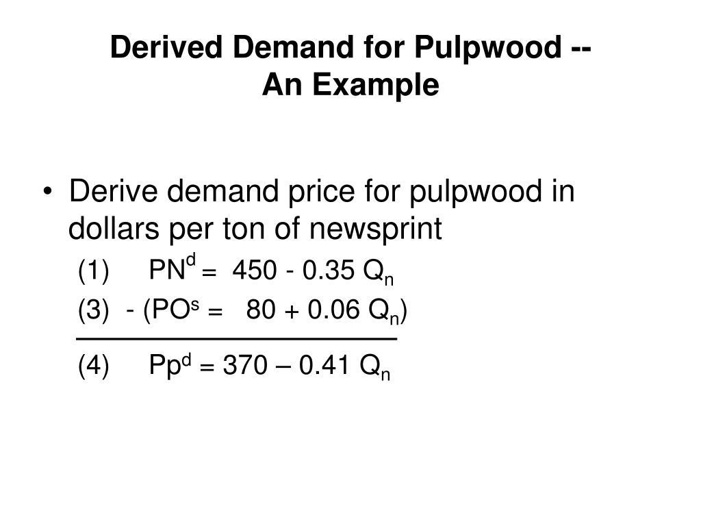 Derived Demand for Pulpwood --