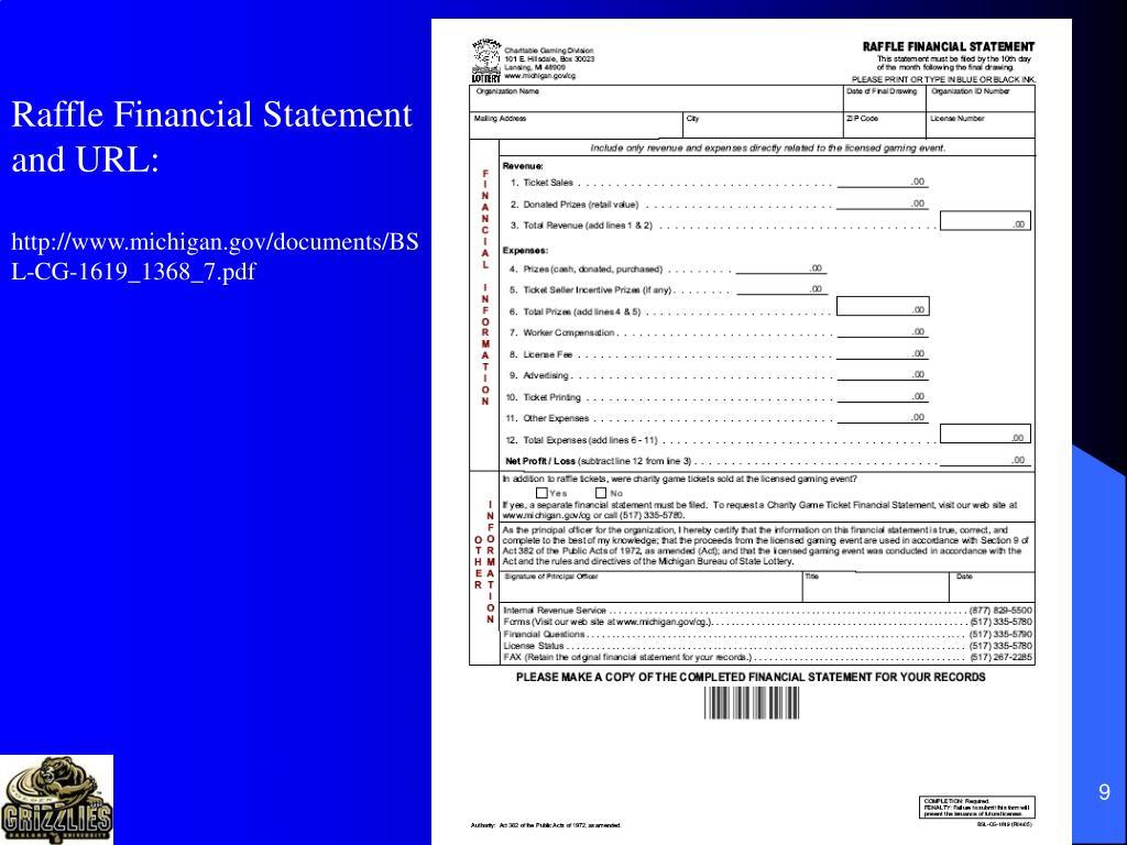 Raffle Financial Statement
