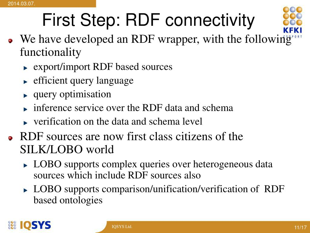 First Step: RDF connectivity