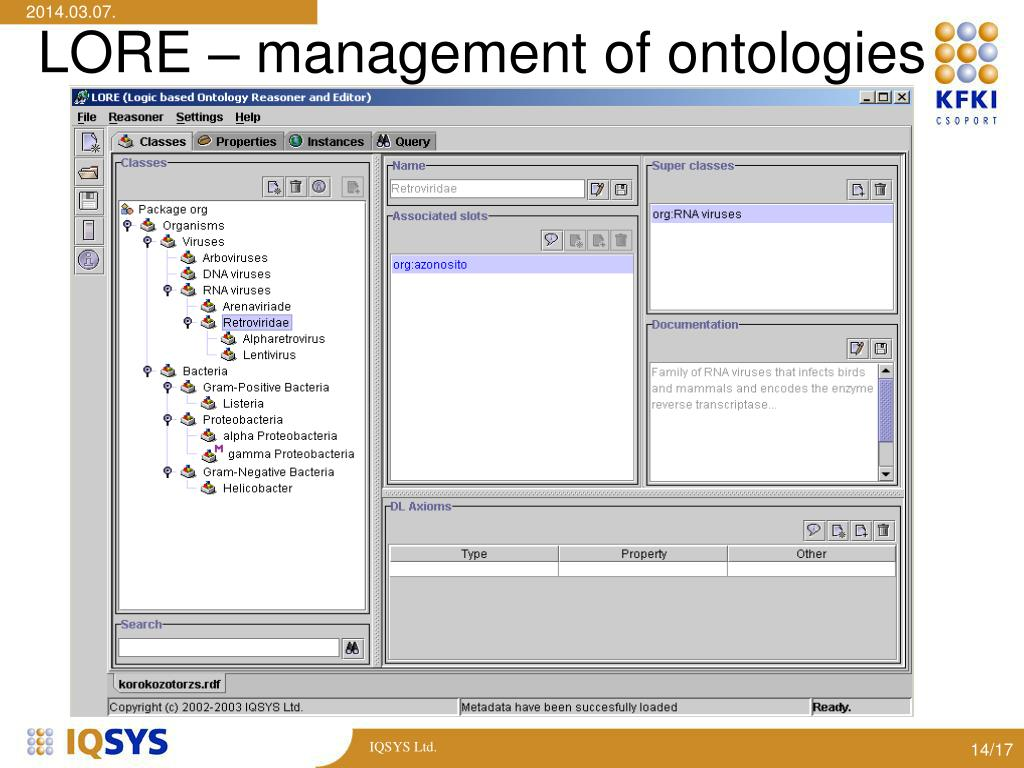 LORE – management of ontologies
