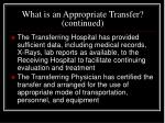 what is an appropriate transfer continued