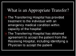 what is an appropriate transfer