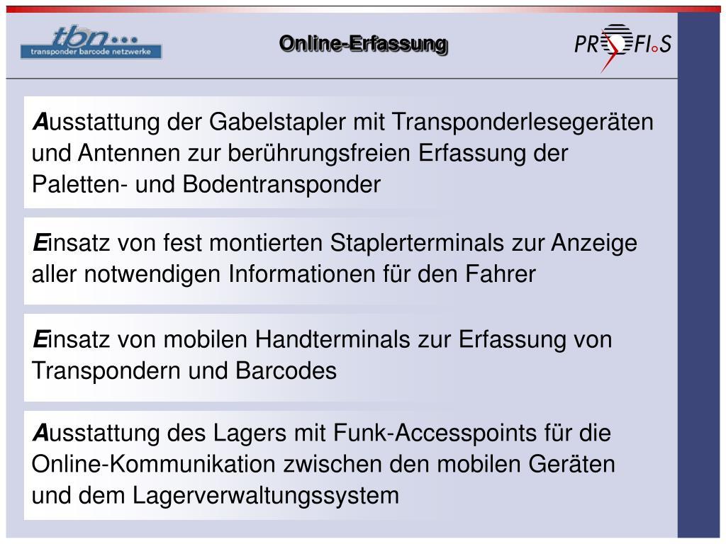 Online-Erfassung