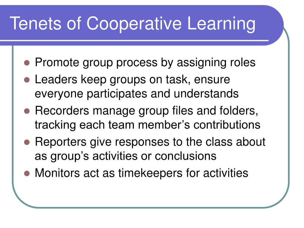 Tenets of Cooperative Learning