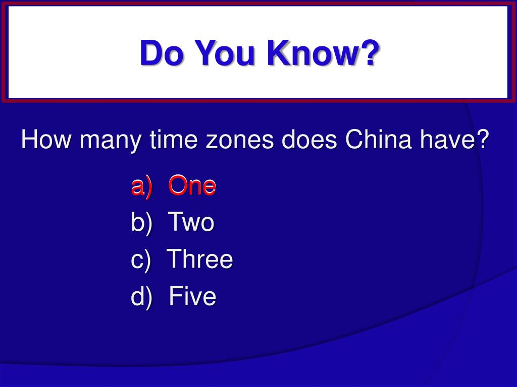 How many time zones does China have?