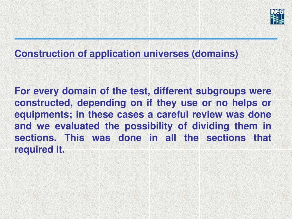 Construction of application universes (domains)