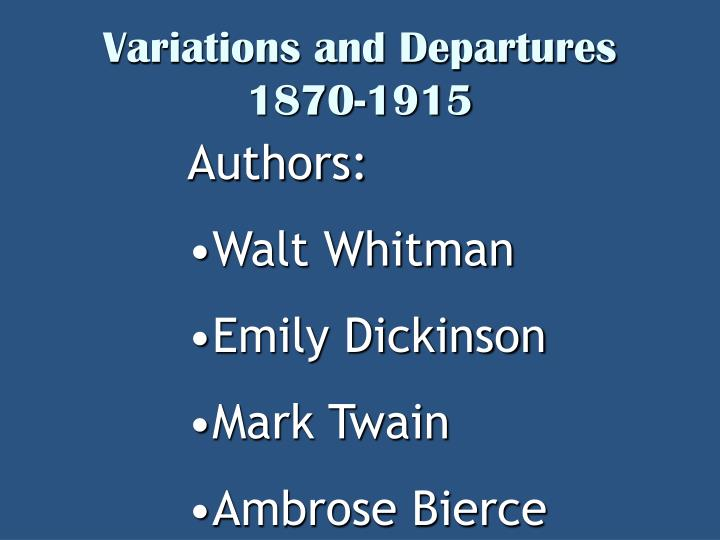 a comparison of the literary works of walt whitman and emily dickinson An essay or paper on poetry comparison of dickinson & whitman this paper will discuss the similarities and the differences between selected poems of emily dickinson and of walt whitman.