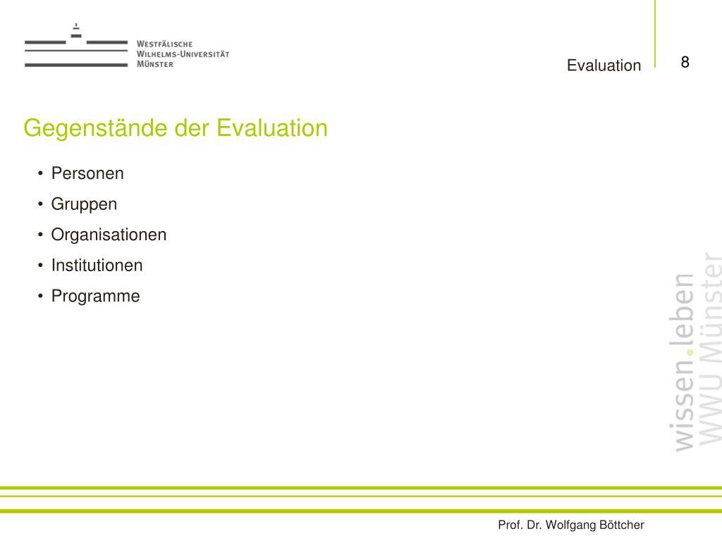Gegenstände der Evaluation