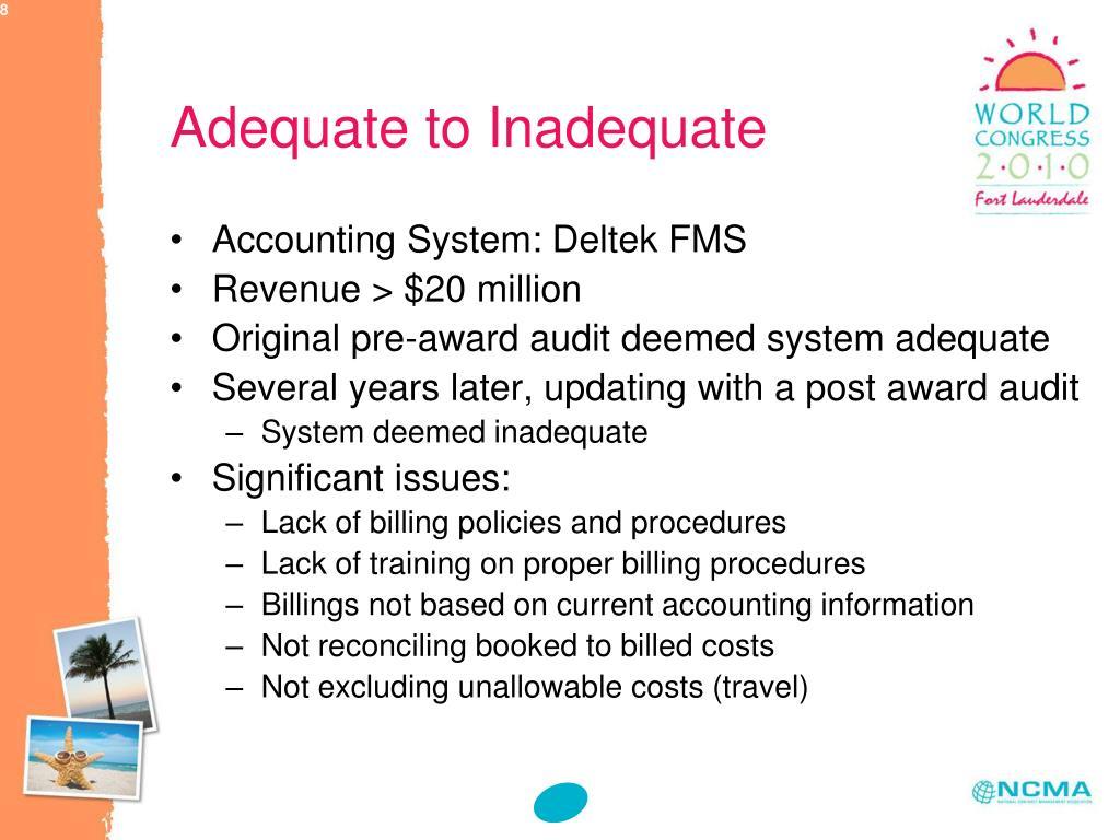 Adequate to Inadequate