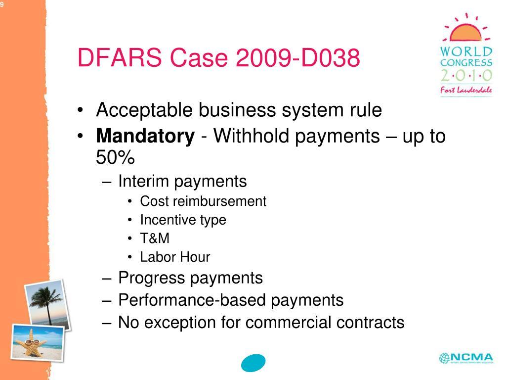 DFARS Case 2009-D038
