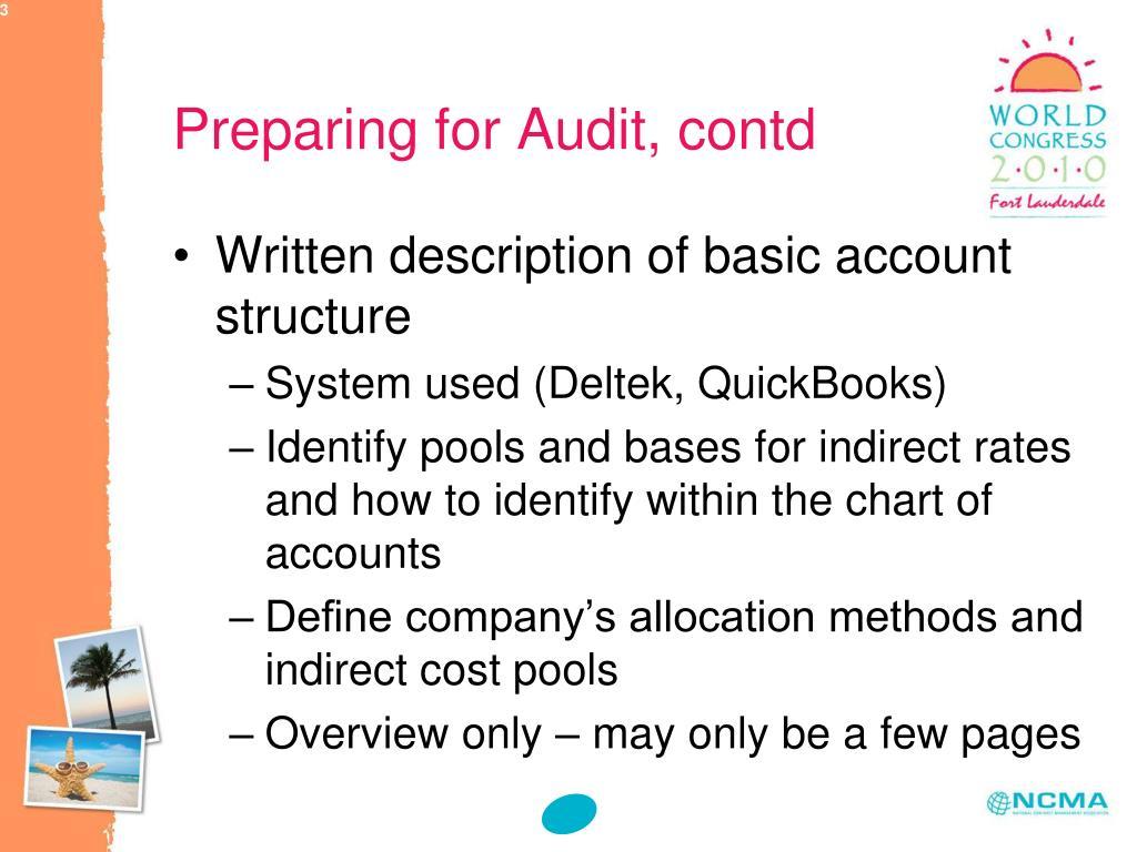 Preparing for Audit, contd