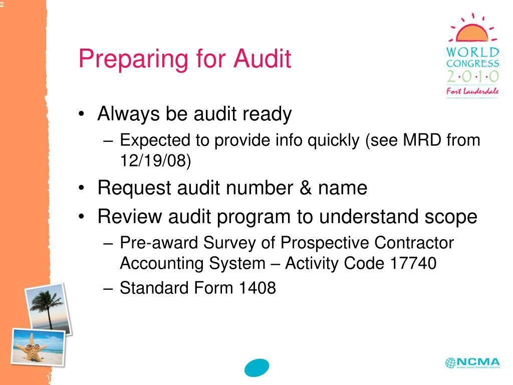 Preparing for Audit