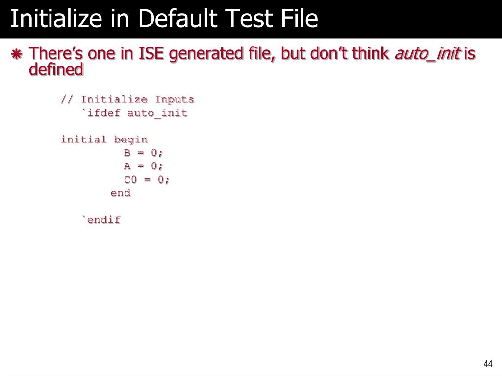 Initialize in Default Test File