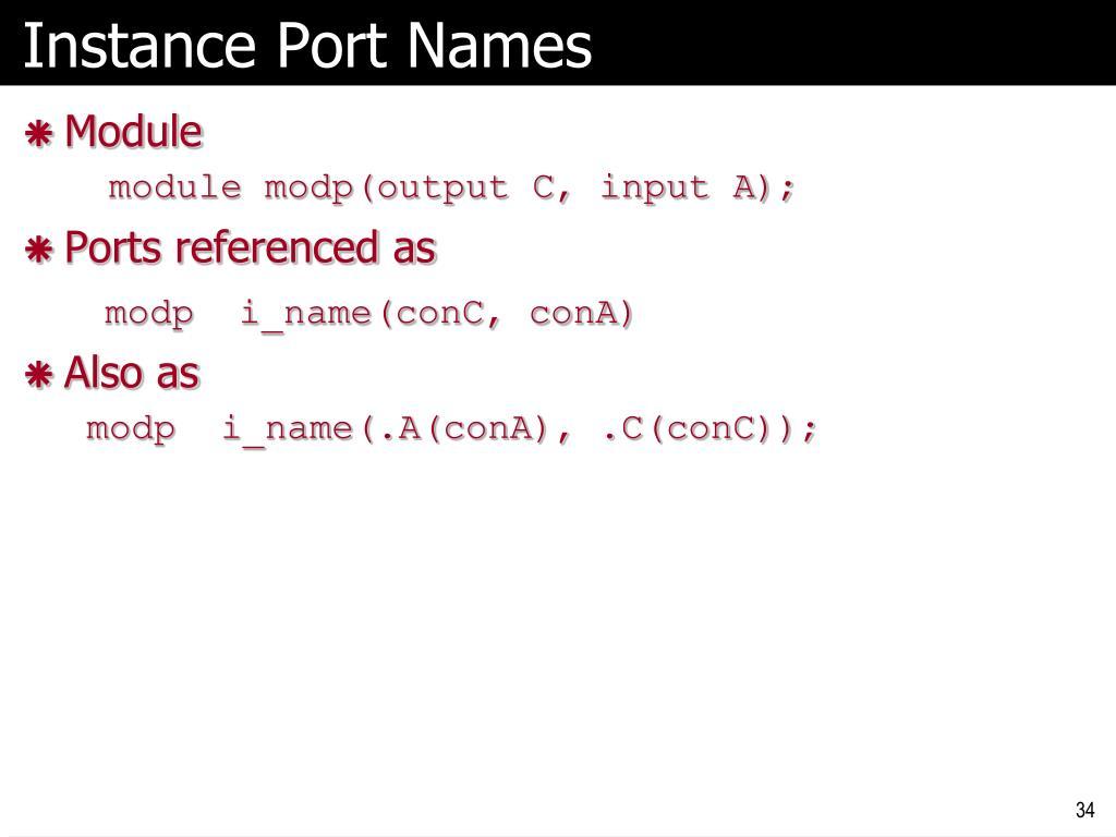 Instance Port Names