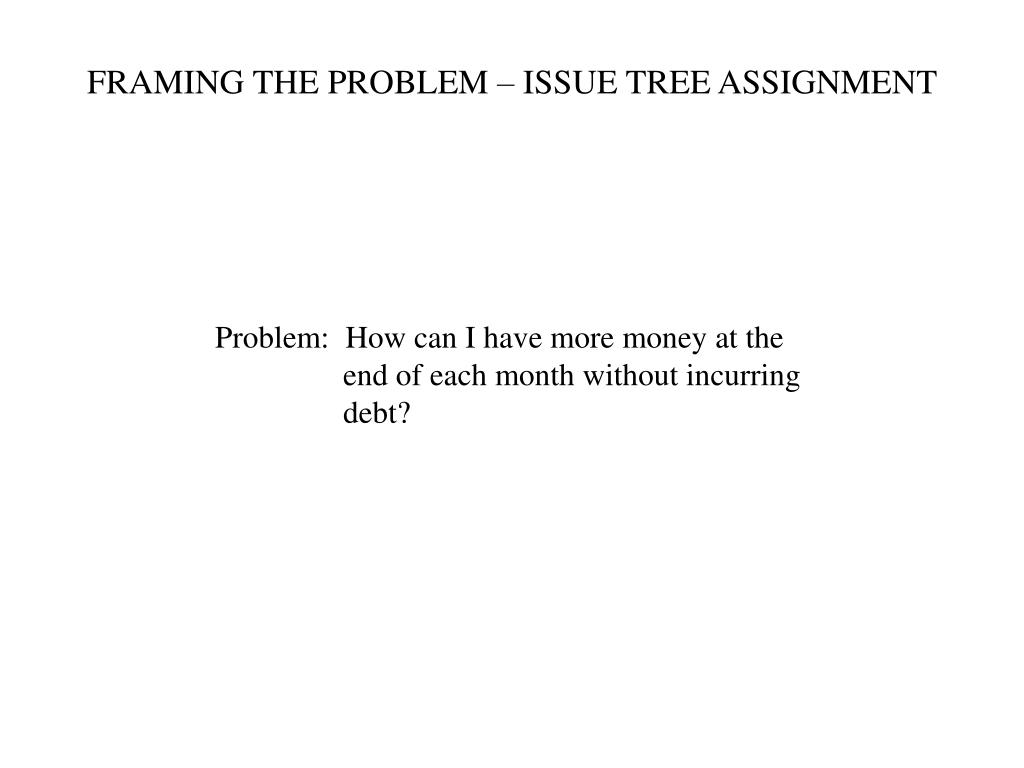 FRAMING THE PROBLEM – ISSUE TREE ASSIGNMENT