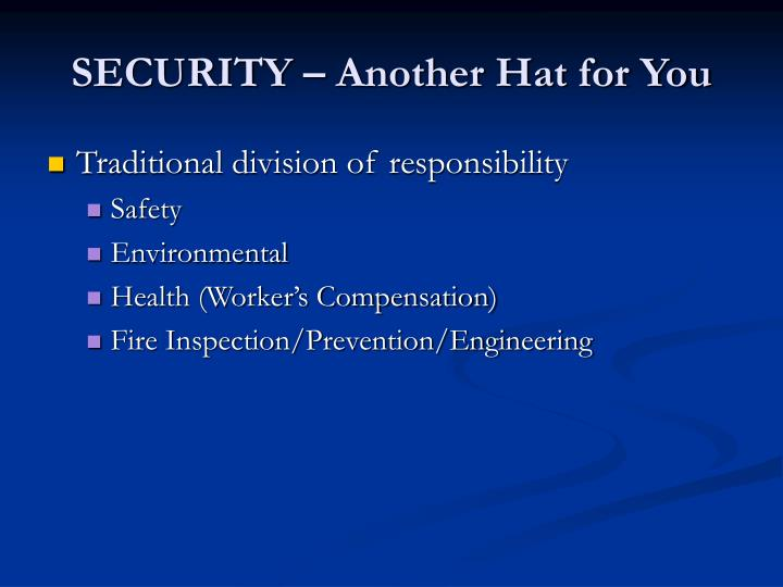 Security another hat for you2