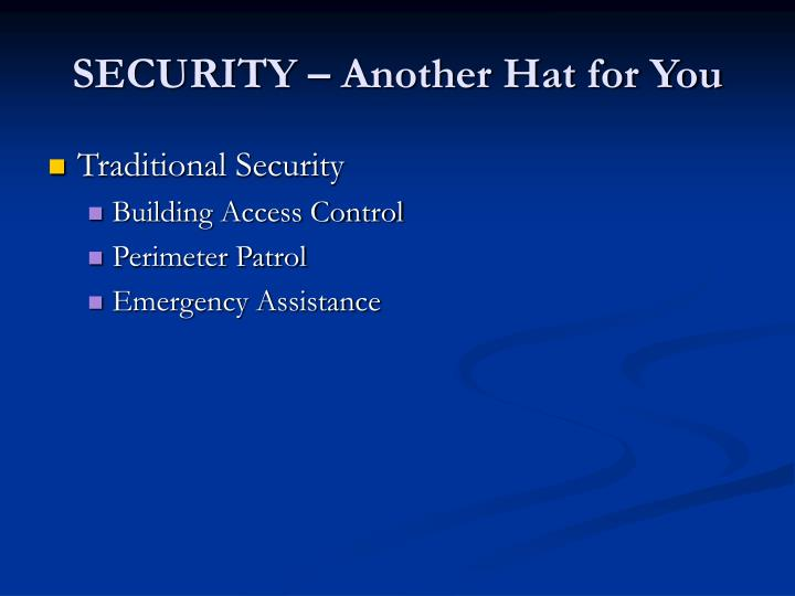 Security another hat for you3