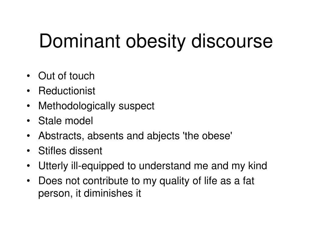 Dominant obesity discourse