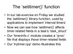 the setitimer function