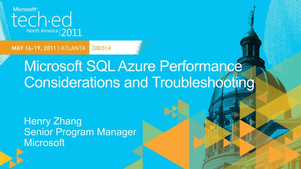 microsoft sql azure performance considerations and troubleshooting l.