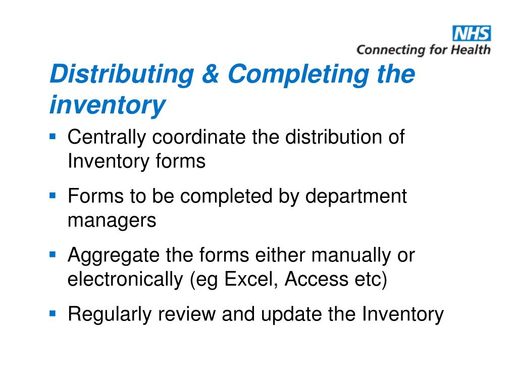 Distributing & Completing the inventory