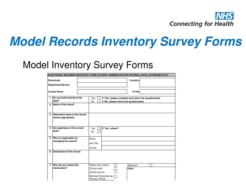 Model Records Inventory Survey Forms
