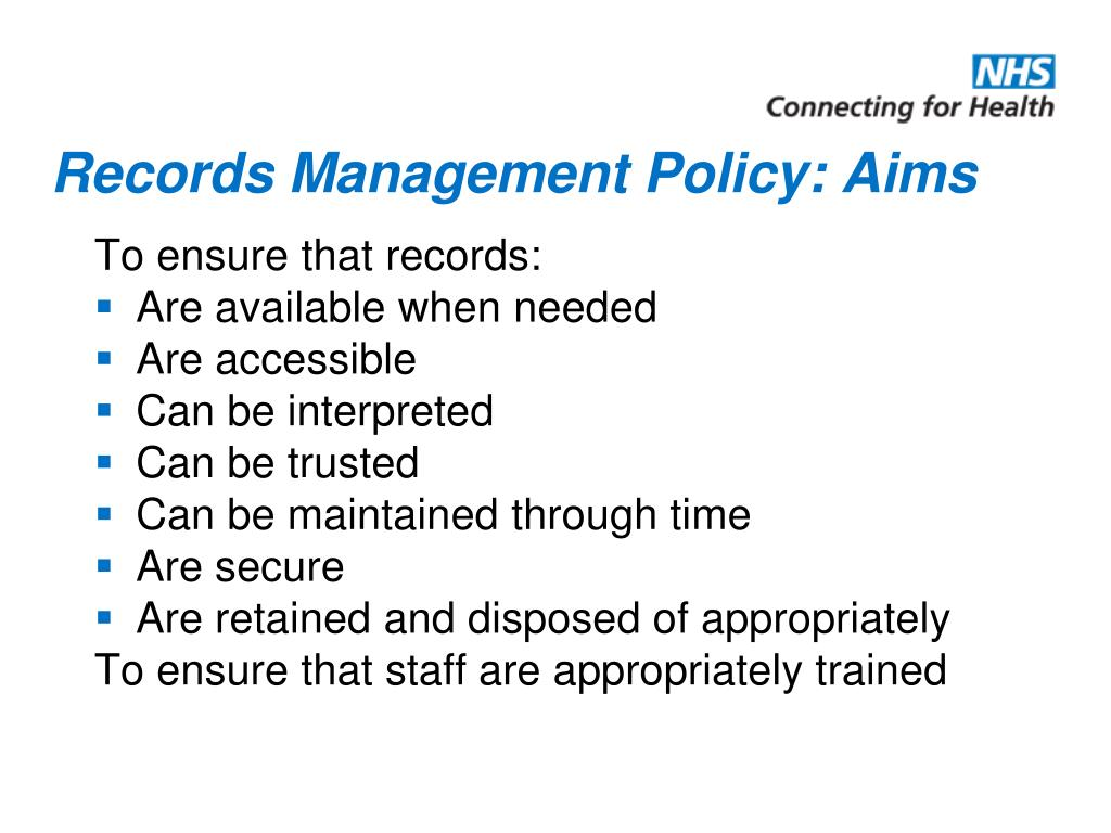 Records Management Policy: Aims