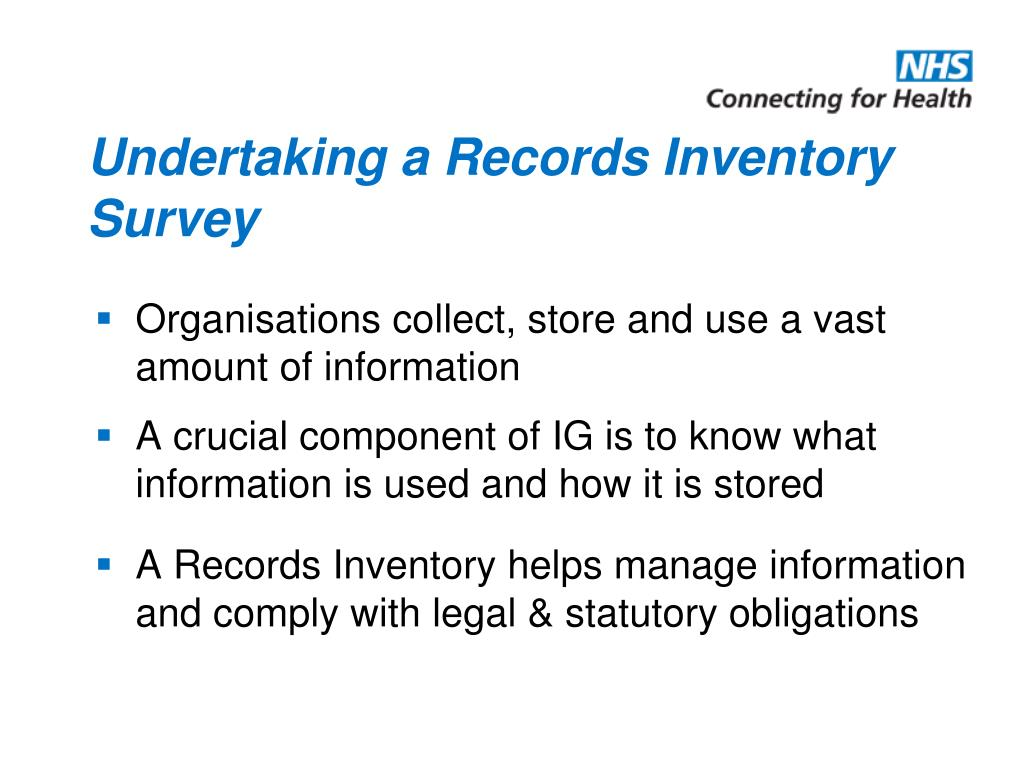 Undertaking a Records Inventory Survey