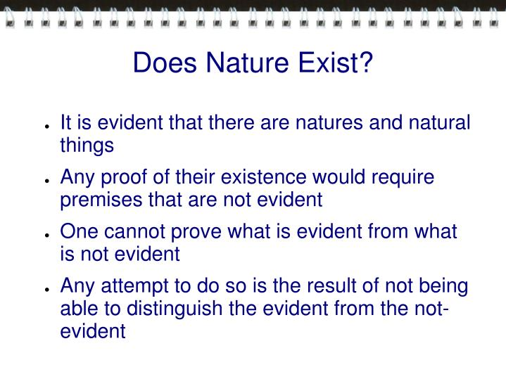 Does Nature Exist?