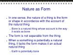 nature as form