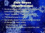 cold stress hypothermia