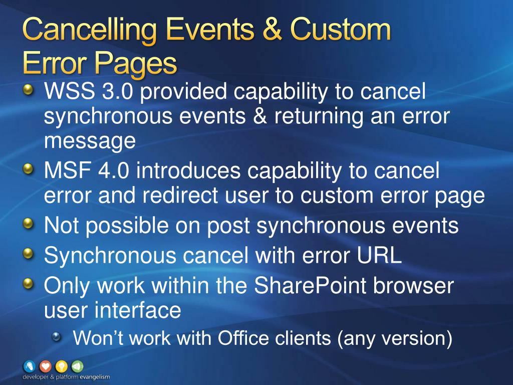 Cancelling Events & Custom