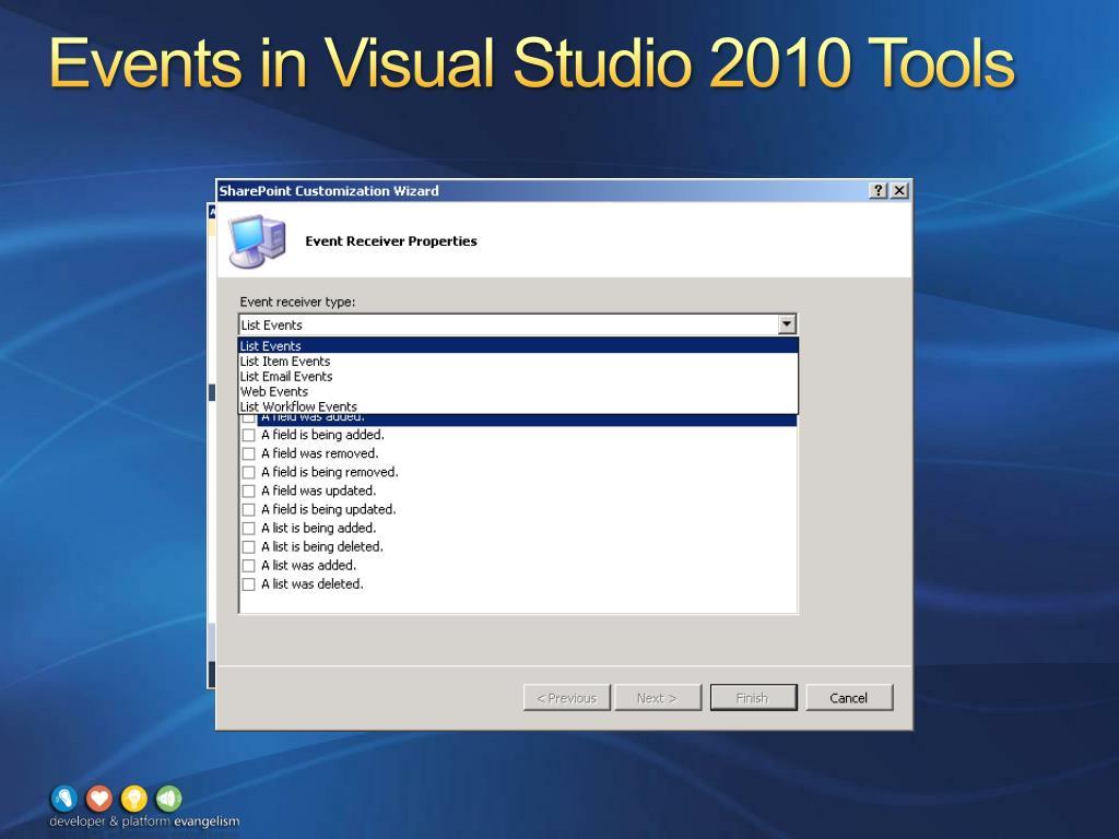 Events in Visual Studio 2010 Tools