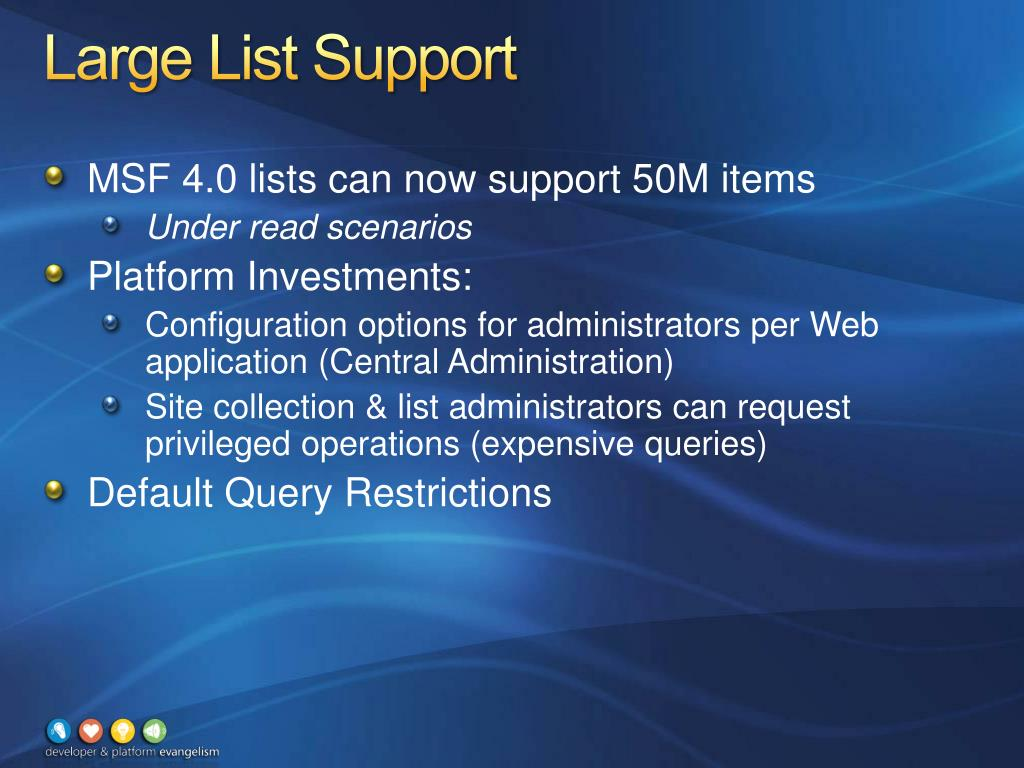 Large List Support