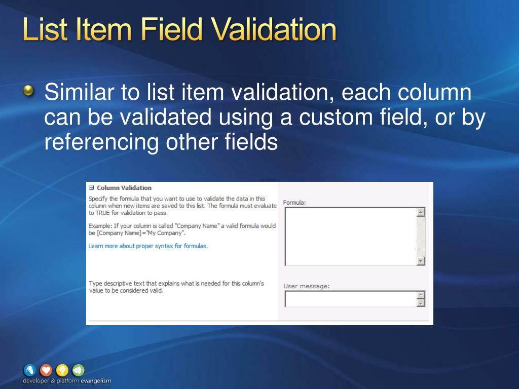 List Item Field Validation