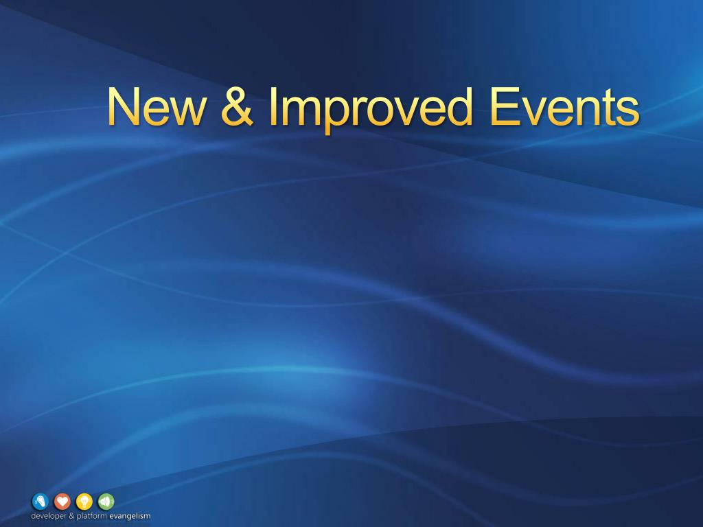 New & Improved Events
