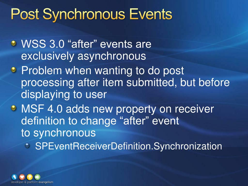 Post Synchronous Events