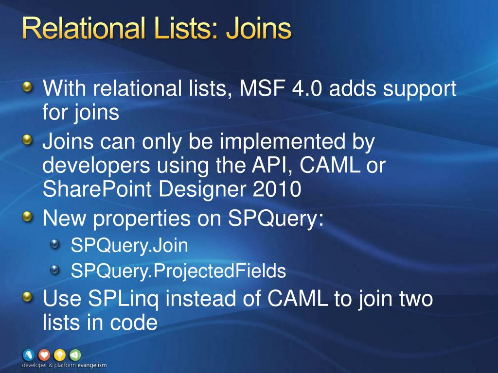 Relational Lists: Joins